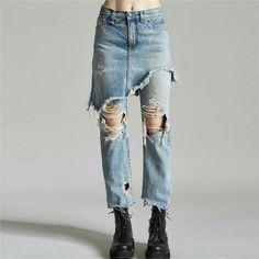 a96ecbe785b3 LANMAREM 2018 Fashion Casual Spliced Unique Personality Trousers  Temperament Irregular Fake Two Piece Hole Jeans Women UA06505
