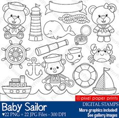 Baby Sailor Stamps Digital stamps Clip art by pixelpaperprints