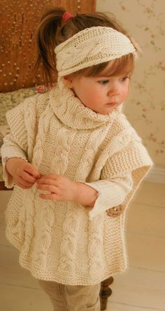 Knitting Pattern for Robyn Poncho for Babies and Children - Matching cable set. Poncho sizes:12-18m/2-3y/4-5y/6-7y/8-10y/adult woman M