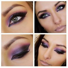"""Love love love a million times and over this Arabic inspired makeup look created by @pinupbeautyx93 Beautifully done!!  Here is what she used: """"Avon supershock purple gel liner as a base, and under the eyes then uses Yaby cosmetics eyeshadows in maroonie on the inner corners, funky plum on the center of the lid and almost black on the outer corners. Then  used a gel liner on top and kohl liner on the inner rims &  used tape to get the defined line for the eyeshadow"""