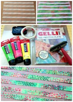 Homemade Washi Tape is easy and quick to make using your gelli plate, some deli paper, acrylic paints, stayz-on ink and whatever misc stamps you have on hand. Adhere strips of scor-tape to one side...