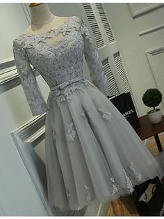 3/4 Sleeve Short Chiffon Homecoming Dresses Lace Appliques Women Party Dresses
