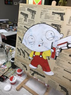 PROCESS!!!I just finished painting Stewie Griffin from family. He looks bad ass here. The colors pop under the resin. Photo don't doesn't do justice. . . #familyguy #stewie #stewiegriffin #art🎨 #art #popartartists #style #popart #artwork #artist #acrylic #acrylicpainting #artoftheday #artsy ##painting #paintings #gallery #artgallery #artgram #gangster #luxury #luxurylife #artresin #resin #canvas #artshow #nyart #artbasel #scopemiami #scopenyc #mixedmedia #popartstyle #popartpainting