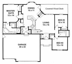 Plan     bedroom narrow lot Ranch w   Car Garage   Home    House Plan   Traditional Plan   Sq  Ft   Bedrooms  Bathrooms  Car Garage  Plan   Narrow lot bedroom Ranch
