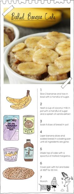 Baked Banana Cake from The Vegan Stoner    Commenter: I made this recipe- it was so delicious! Seriously divine! You have to try it. I added cinnamon to the coconut milk and tossed some chopped walnuts in the mix, as well. Next time I would add choc chips and strawberries.. it's so versatile the possibilities are endless. A scoop of ice cream on top made it my favorite dessert to date!