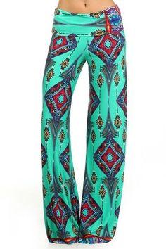S-M-L>Palazzo Boho Fold Over Exuma Pants- Aztec Diamond Print- Green #Uptown #Palazzo 15% OFF