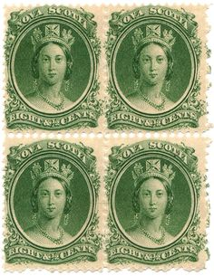 Image detail for -Nova Scotia 8½-cent green postage stamp, issued 1860, imperfect ...