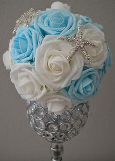 AQUA BLUE & White Mix Elegant Wedding flower ball by KimeeKouture
