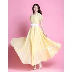 32 Colors Chiffon Light Yellow Short Sleeve Long Party Dress Evening... (€49) ❤ liked on Polyvore featuring black, skirts, women's clothing, stretch belt, elastic belt and stretchy belts