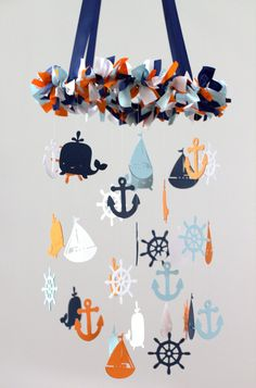 Nautical Nursery Mobile in Orange Navy Baby by LovebugLullabies
