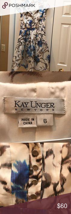 Kay Unger silk dress. Side zip. Size 6. Kay Unger  New York  silk dress. Blue, brown,white. Side zipper. Fully lined. Sheer cap sleeve. Size 6 Kay Unger Dresses