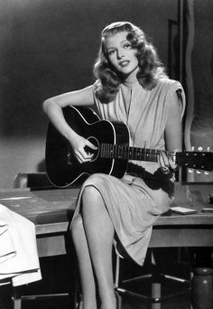 Rita Hayworth - my favourite scene from the film Gilda, I'm going to try and re-create this with my pink acoustic guitar!