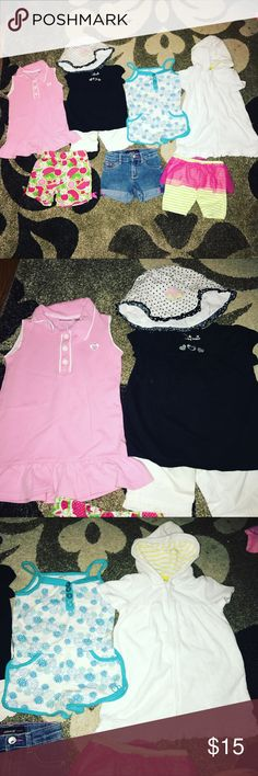 💢💢Toddler girl bundle💢💢 18 months Summer will be here before you know it, so be ready and have your little girl dress in style with this adorable bundle🏖 3 pair of shorts, 👙 bathing suit robe, romper, black shirt with white soft  capris & hat, and a pink polo dress!!! Gently used, smoke free and animal free home! Check out my other bundles and kids clothes! Bundle on shipping and save lots of money!! Thanks for shopping my posh closet!! Other