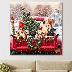 Christmas Truck, Christmas Art, Vintage Christmas, Christmas Decorations, Christmas Lanterns, Canvas Artwork, Canvas Art Prints, Canvas Fabric, Fine Art Paper