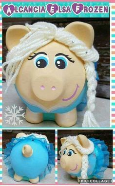 Recycled Crafts Kids, Crafts For Kids, Personalized Piggy Bank, Pig Crafts, Mixed Media Tutorials, Cute Piggies, Money Box, Beaded Embroidery, Altered Art