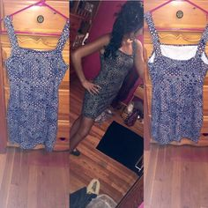 🆕Aztec print BodyCon Dress NWOT💙 Brand new without tags never worn! Size small can also fit a medium very stretchy comfy material blue white and pink pattern 🎉15% off bundles🎉 Hollister Dresses