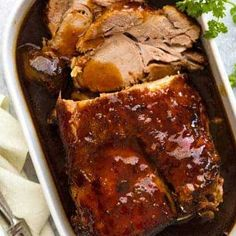 A Slow Cooker Pork Loin roast or Pork Shoulder roast that's cooked in an amazing honey butter garlic sauce! It's a slow cooker pork roast re. Slow Cooking, Cooking Pasta, Cooking Utensils, Pork Recipes, Slow Cooker Recipes, Crockpot Meals, Pork Loin Crockpot Recipes, Recipies, Pork Meals