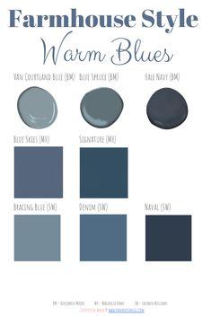 The Best Farmhouse Style Paint Guide - Hammers N Hugs Navy Paint Colors, Popular Paint Colors, Bedroom Paint Colors, Interior Paint Colors, Paint Colors For Home, Room Colors, Wall Colors, House Colors, Gray Paint