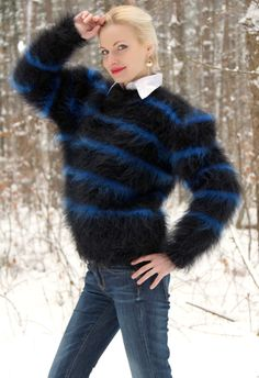 Fuzzy Angora Sweater Tumblr   Made to order extra fuzzy gray hand knitted unisex mohair sweater by ...