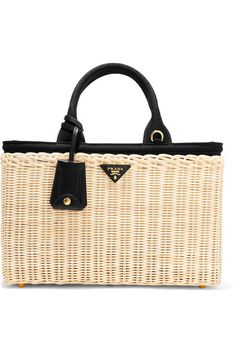PRADA fancy Midollino large leather-trimmed canvas and wicker tote