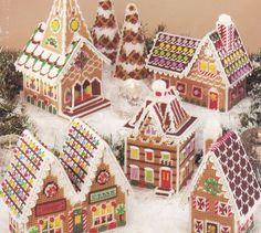 Free Southwestern Plastic Canvas Patterns | Gingerbread Village Plastic Canvas Pattern Book American School of ...