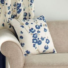 A cushion cover with wonderfully vibrant and colourful modern floral print, with a relaxed handpainted feel. Color, Cushions, Modern Floral, Bed, Home, Cushion Cover, Sofas, Throw Pillows, Blue