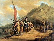 Sudáfrica - Desembarco de Jan van Riebeeck en 1652, el primer europeo en establecerse en el territorio de la actual Sudáfrica.