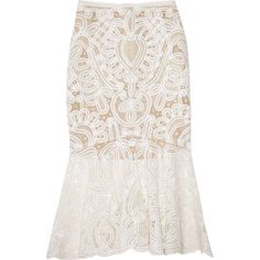 Alexander McQueen Crochet-embroidered silk-organza skirt (£1,628) ❤ liked on Polyvore featuring skirts, bottoms, alexander mcqueen, white, saias, long white pleated skirt, long crochet skirt, long pleated skirt, long flared skirt and pleated skirt