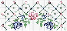 Today I bring you the Barrado Arco de Rosas Kitchen Game graphic with B . Cross Stitch Rose, Cross Stitch Borders, Cross Stitch Flowers, Counted Cross Stitch Patterns, Cross Stitch Charts, Cross Stitch Designs, Cross Stitching, Cross Stitch Embroidery, Embroidery Patterns