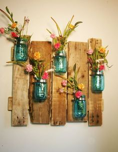 YOUR COLOR CHOICE Unique large wall piece with Painted Mason Jars wall decor kitchen decor bedroom decor | Large Walls, Unique and Pallets
