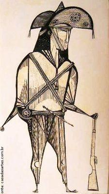 Obra do artista brasileiro Aldemir Martins retratando um cangaceiro.  Palavras-chave: Aldemir Martins, arte moderna, arte brasileira, c...