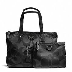 6b3da8030d Coach Getaway Signature Nylon Small Packable Tote Gym Bag 2pc Set Black  F77322  Coach