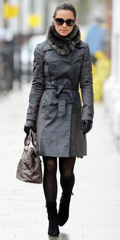 Pippa Middleton - Reiss trenchcoat, fur stole, Modalu bag, and suede ankle booties
