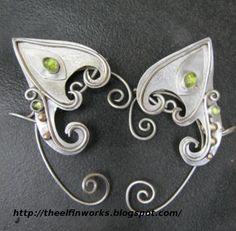 Fantasy Elf Clothing | Sterling Silver and Peridot Elf Ears | Fantasy Clothing