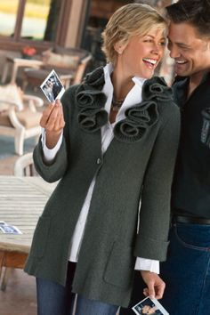 How hard would it be to buy a simple cardigan & add the roses to get this look??Rosette Cardigan