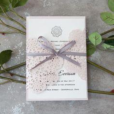 blush pink floral laser cut wedding invites with grey ribbon EWWS156