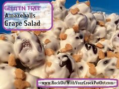 AMAZINGLY EASY GRAPE SALAD. This is THE best stuff. MUST PIN FOR LATER! Check it out at -->www.RockOutWithYourCrockPotOut.com<--