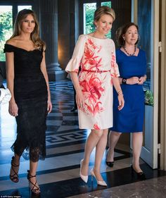 Melania Trump changes into lace to meet Queen Mathilde at Royal Palace #dailymail