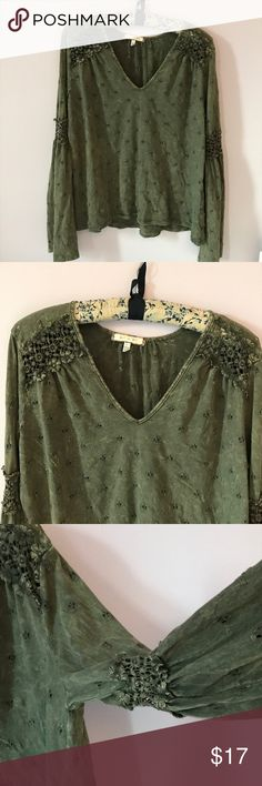 Eri + Ali Anthropologie Calvie Eyelet top Lovely green Eri + Ali Anthropologie Calvie Eyelet top size L Gorgeous crochet details Only worn 3-4x EUC Smoke free pet free home. Anthropologie Tops