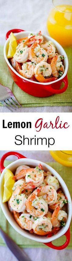 Lemon Garlic Shrimp – easiest and best shrimp recipe with lemon, garlic, butter, and shrimp, all ready in 20 mins. | rasamalaysia.com #seafoodrecipes