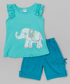 Look what I found on #zulily! Teal Elephant Top & Bermuda Shorts - Toddler & Girls by G&J Relations #zulilyfinds