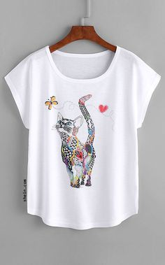 Cheap T-Shirts, Buy Directly from China Suppliers:Dotfashion Cat Print Loose Tee Shirt 2018 New Animal Round Neck Cap Sleeve Cute Female Top Summer Casual T shirt Lingerie Fine, Tee Online, T Shirts For Women, Clothes For Women, Casual T Shirts, Shirt Designs, Just For You, How To Wear, Fashion Black