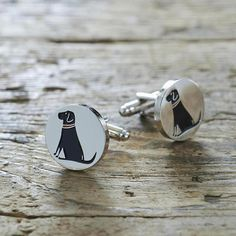 Black Labrador Cufflinks from Sweet William Designs. These gorgeous black Labrador cufflinks make the perfect present for any Lab lover. They are sure to be a talking point at work, weddings or black tie events!