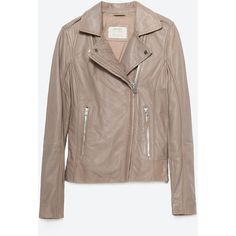 Zara Leather Jacket (370 CAD) ❤ liked on Polyvore featuring outerwear, jackets, taupe grey, lined leather jacket, taupe jacket, leather jacket, gray jacket and grey leather jacket