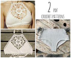 2 PDF-files for Crochet PATTERNS: Venus crop Top and Aliyah Crochet Bikini Bottom Sizes XS-L, surfer bikini, Highwaist bottom by CapitanaUncino on Etsy