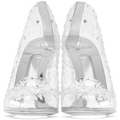 Dolce and Gabbana Clear Cinderella Heels (€1.345) ❤ liked on Polyvore featuring shoes, pumps, flower print pumps, round toe pumps, clear shoes, dolce gabbana shoes and rounded toe pumps