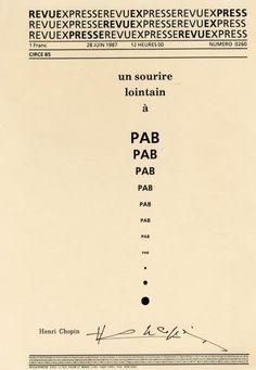 """Lettrisme.- CHOPIN (Henri). - """"Un sourire lointain à PAB"""". Dactylo-poème"""