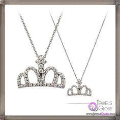 Roberto Coin 18 karat white gold and diamond crown necklace