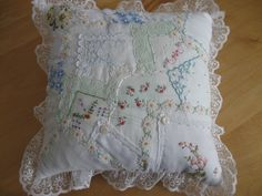all hand beaded using all vintage hankies