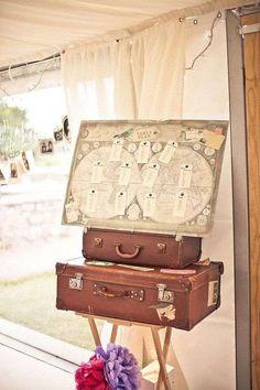 Seating plan para bodas: fotos ideas originales - Seating plan inspiración viajera y romántica